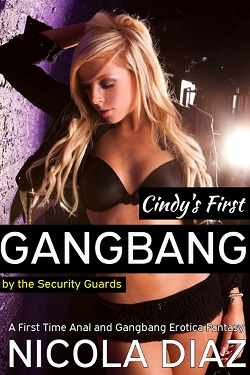 cover design for the book entitled Cindy's First Gangbang by the Security Guards