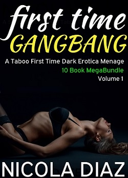 cover design for the book entitled First Time Gangbang - A Taboo First Time Dart Erotica Menage