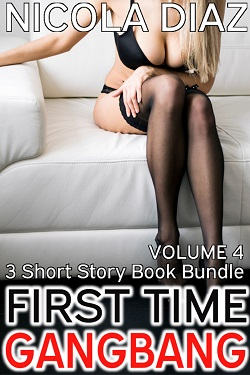 cover design for the book entitled First Time Gangbang Volume 5- 3 short story book bundle