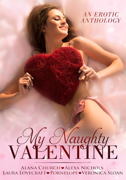 cover design for the book entitled My Naughty Valentine: Five Tales of Tender Love