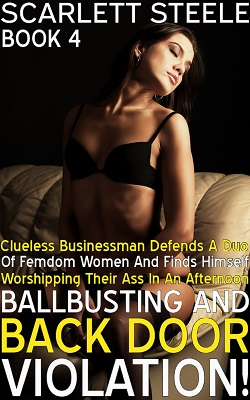 cover design for the book entitled Clueless Businessman Defends A Duo Of Femdom Women