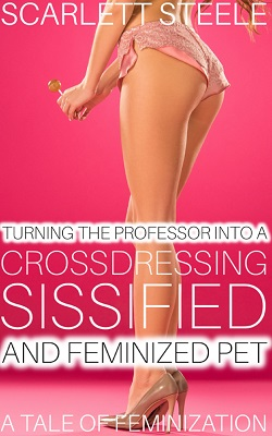 cover design for the book entitled Turning The Professor Into A Crossdressing, Sissified and Feminized Pet