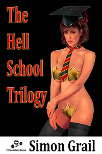 cover design for the book entitled The Hell School Trilogy